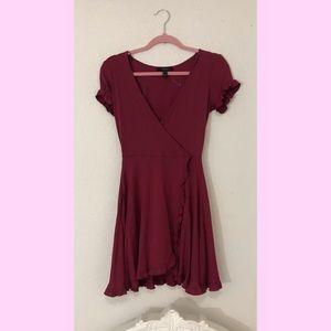 NWT burgundy ruffled dress
